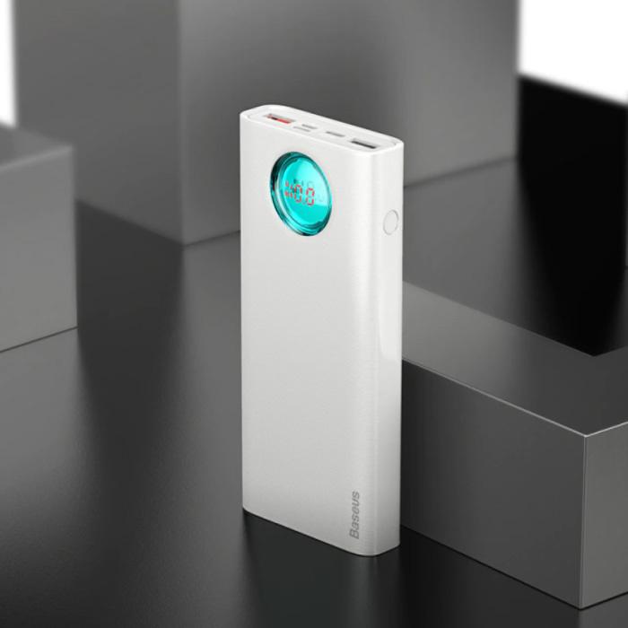 Powerbank avec 5 ports et charge rapide 3.0 - Affichage LED 20 000mAh Chargeur de batterie d'urgence externe Chargeur Blanc