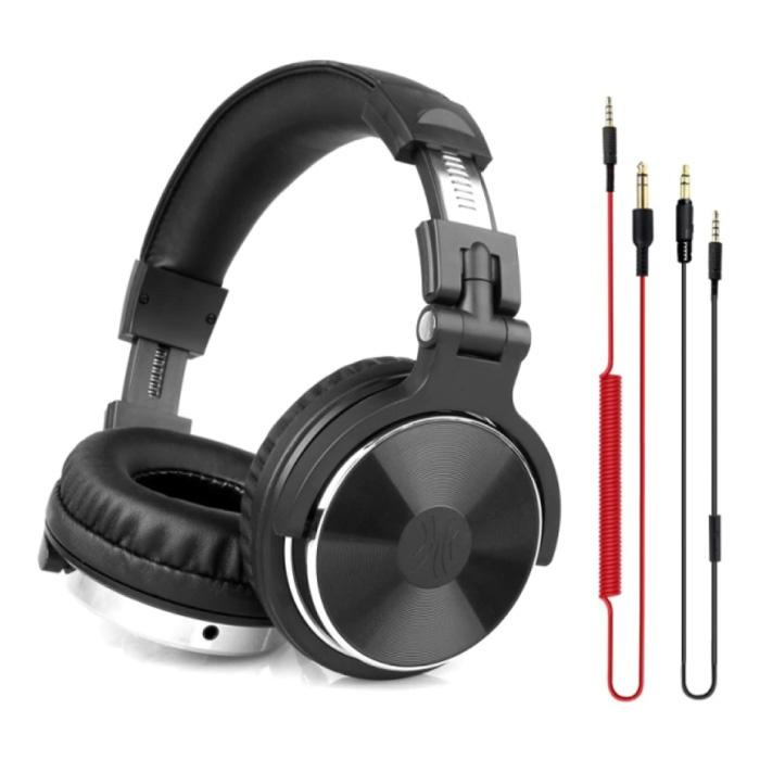 Casque de studio avec connexion AUX 6,35 mm et 3,5 mm - Casque avec microphone Casque DJ Noir