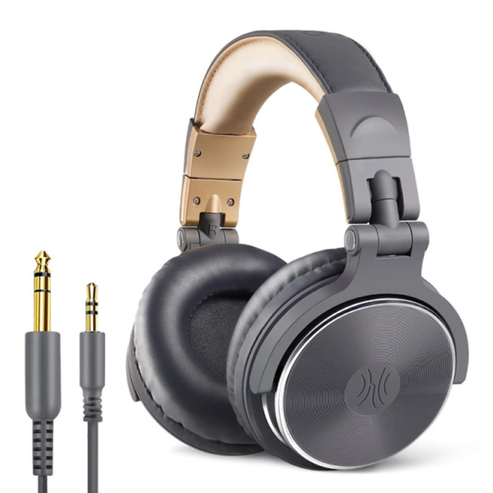 Casque de studio avec connexion AUX 6,35 mm et 3,5 mm - Casque avec microphone Casque DJ Gris