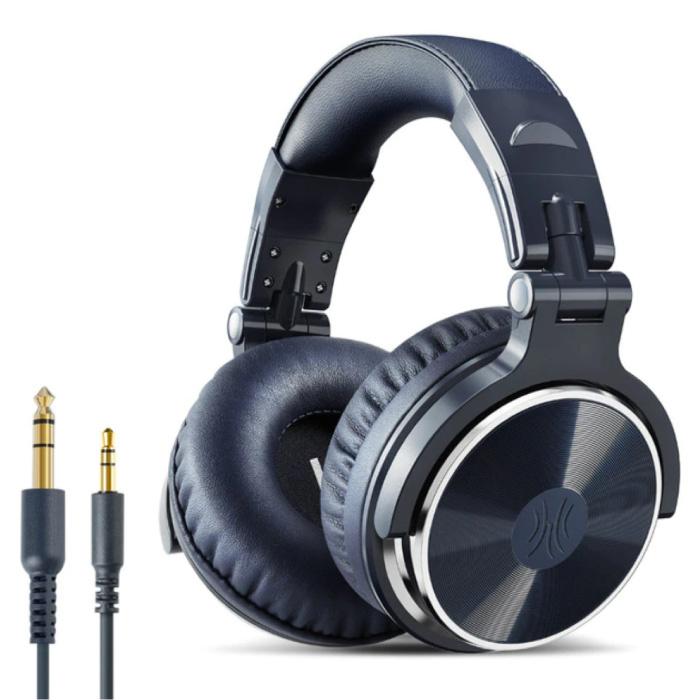 Casque de studio avec connexion AUX 6,35 mm et 3,5 mm - Casque avec microphone Casque DJ Bleu
