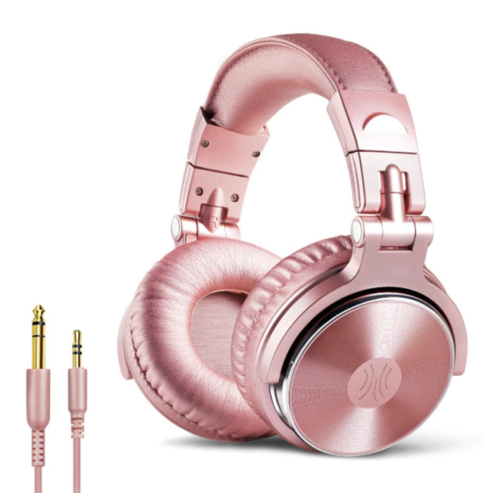 Studio Headphones with 6.35mm and 3.5mm AUX Connection - Headset with Microphone DJ Headphones Pink