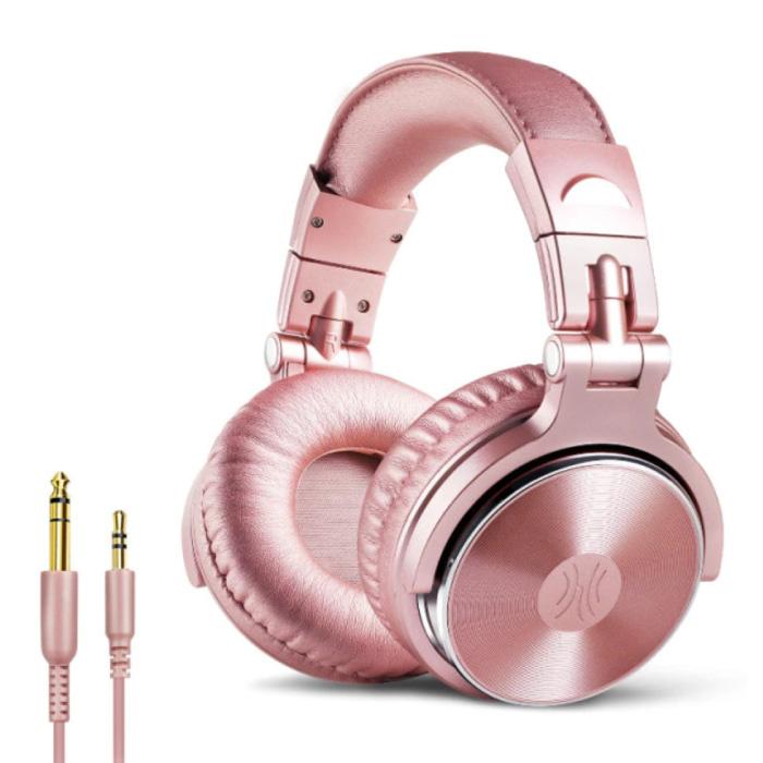 Studio Koptelefoon met 6.35mm en 3.5mm AUX Aansluiting - Headset met Microfoon DJ Headphones Roze