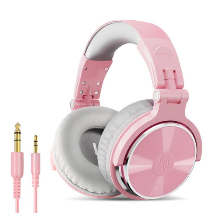 Studio Koptelefoon met 6.35mm en 3.5mm AUX Aansluiting - Headset met Microfoon DJ Headphones Roze-Wit