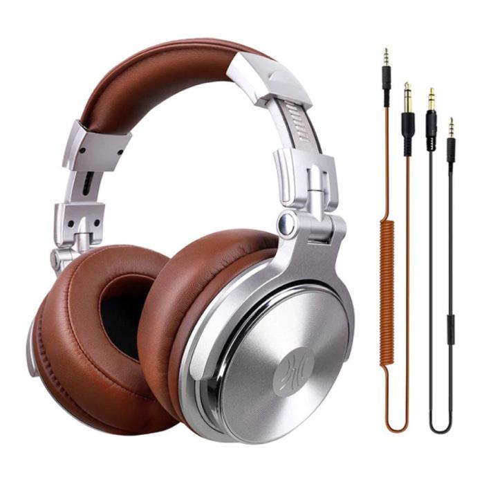 Casque Pro Studio avec connexion AUX 6,35 mm et 3,5 mm - Casque avec microphone Casque DJ Argent