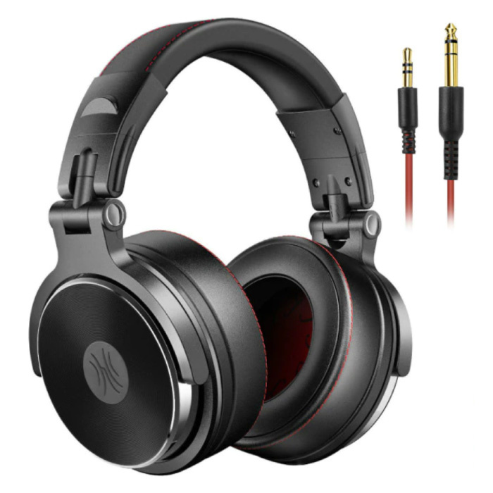 Pro Studio Headphones with 6.35mm and 3.5mm AUX Connection - Headset with Microphone DJ Headphones Black