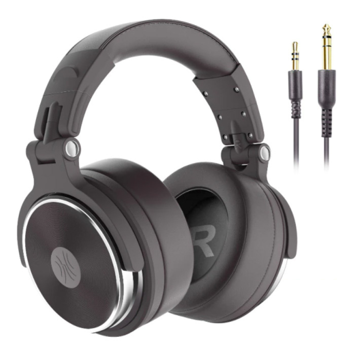 Pro Studio Headphones with 6.35mm and 3.5mm AUX Connection - Headset with Microphone DJ Headphones Brown
