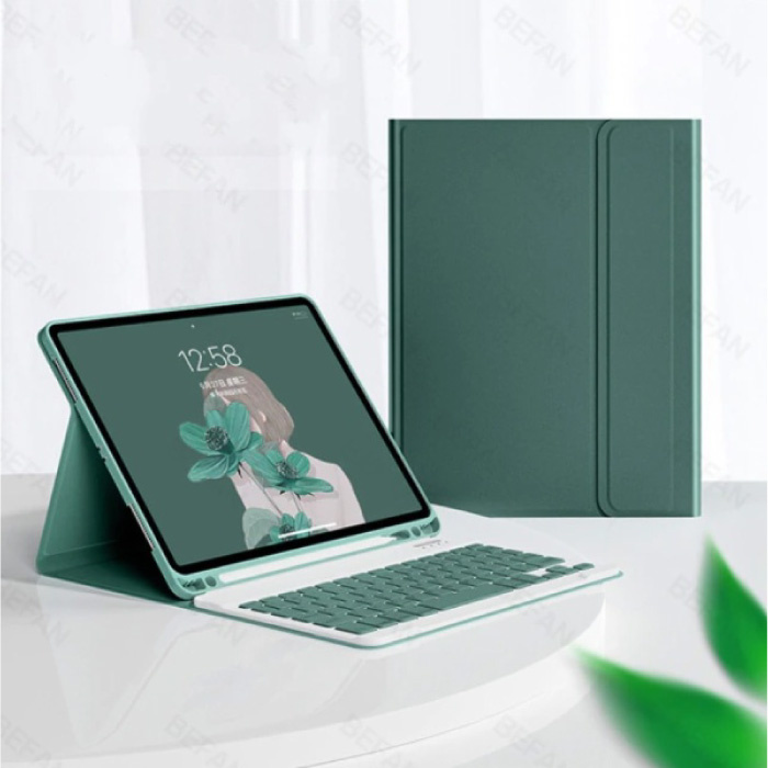 """Keyboard Cover for iPad 9.7 """"(2017) - QWERTY Multifunction Keyboard Bluetooth Smart Cover Case Sleeve Green"""