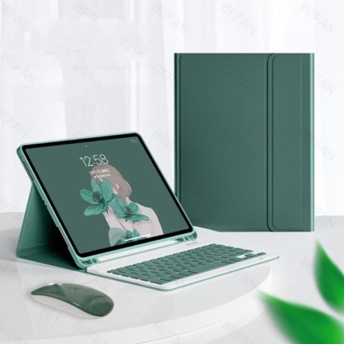 """Housse de clavier pour iPad 9.7 """"(2017) avec souris sans fil - Clavier multifonction QWERTY Housse intelligente Bluetooth Housse verte"""