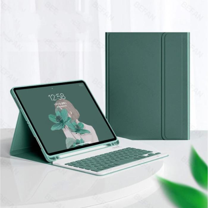 """Toetsenbord Hoes voor iPad Air 3 (10.5"""") - QWERTY Multifunctionele Keyboard Bluetooth Smart Cover Case Hoesje Groen"""