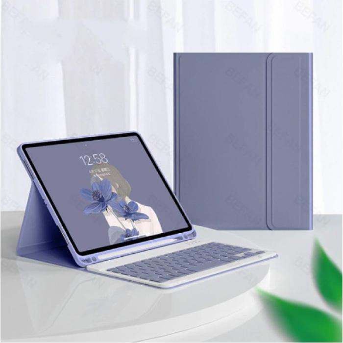"""Toetsenbord Hoes voor iPad Air 3 (10.5"""") - QWERTY Multifunctionele Keyboard Bluetooth Smart Cover Case Hoesje Paars"""