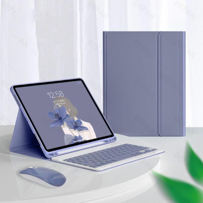 """Toetsenbord Hoes voor iPad Air 4 (10.9"""") met Draadloze Muis - QWERTY Multifunctionele Keyboard Bluetooth Smart Cover Case Hoesje Paars"""