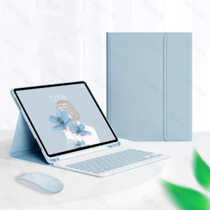 """Housse de clavier pour iPad Air 4 (10,9 """") avec souris sans fil - Clavier multifonction QWERTY Housse de protection intelligente Bluetooth Bleu"""