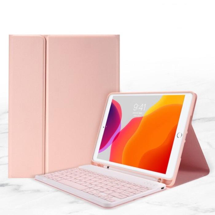 """Toetsenbord Hoes voor iPad 9.7"""" (2017) - QWERTY Multifunctionele Keyboard Bluetooth Smart Cover Case Hoesje Roze"""