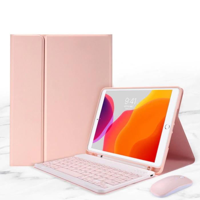 """Housse de clavier pour iPad Air 4 (10,9 """") avec souris sans fil - Clavier multifonction QWERTY Housse Bluetooth Smart Cover Rose"""