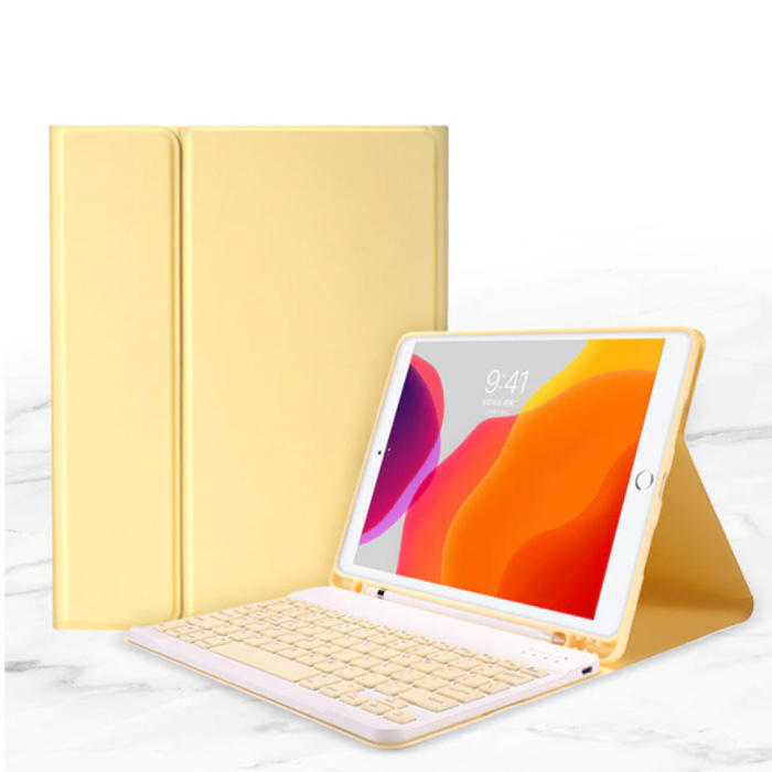 """Keyboard Cover for iPad 9.7 """"(2017) - QWERTY Multifunction Keyboard Bluetooth Smart Cover Case Sleeve Yellow"""