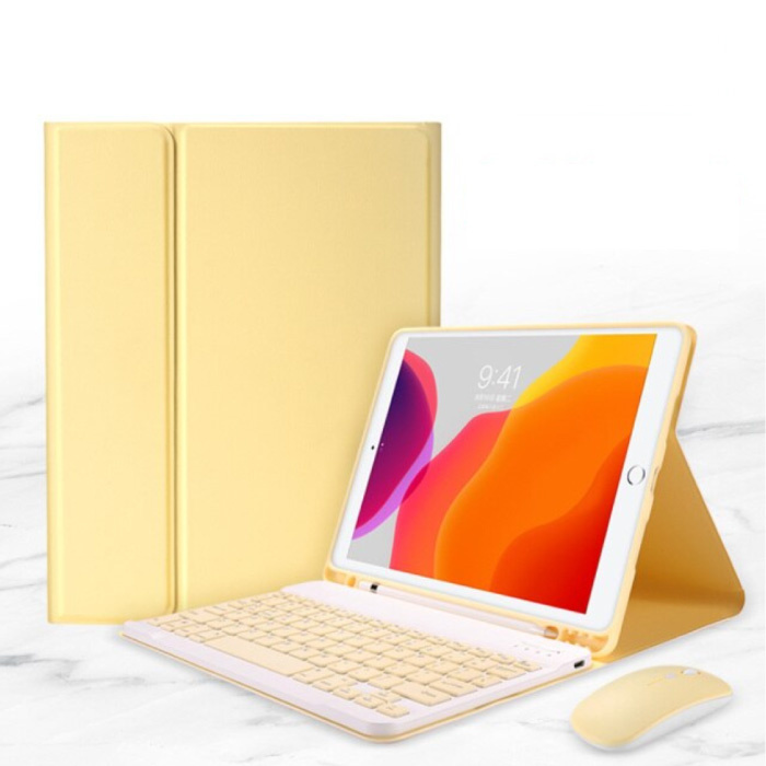 """Housse de clavier pour iPad 10.2 """"(2019) avec souris sans fil - Clavier multifonction QWERTY Housse intelligente Bluetooth Housse jaune"""