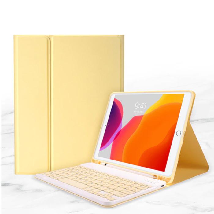 """Housse de clavier pour iPad 10.2 """"(2019) - Housse de protection intelligente Bluetooth pour clavier multifonction QWERTY Jaune"""