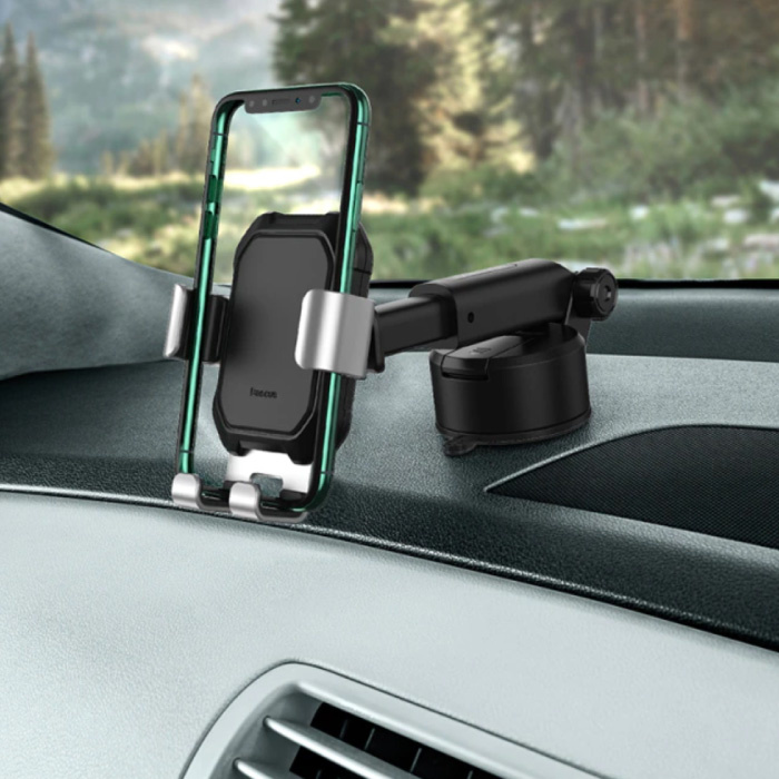 Universal Phone Holder Car with Dashboard Stand - Gravity Smartphone Holder Silver