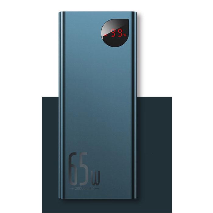 65W Powerbank met PD Poort 20.000mAh met 5 USB Poorten  - LED Display Externe Noodaccu Oplader Charger Blauw
