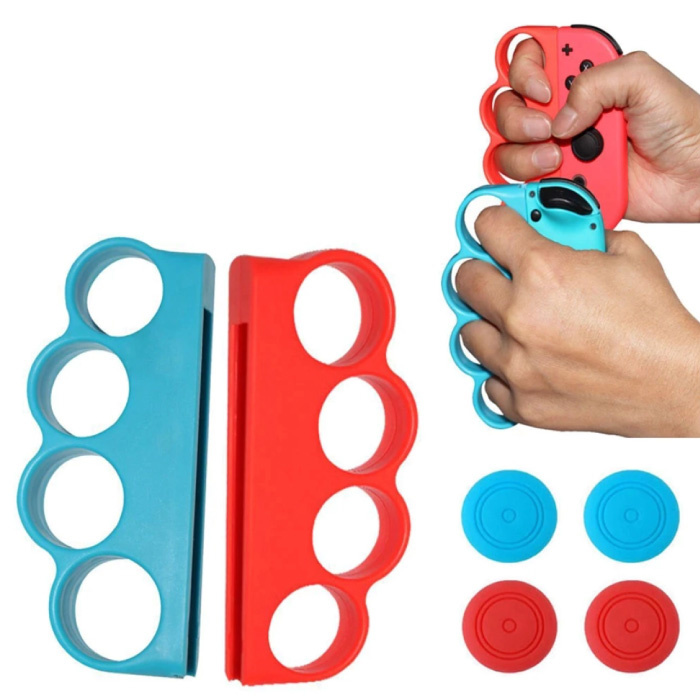 Boxing Bracket Grip for Nintendo Switch Joy-Cons - NS Bluetooth Gamepad Joy Pad Blue and Red
