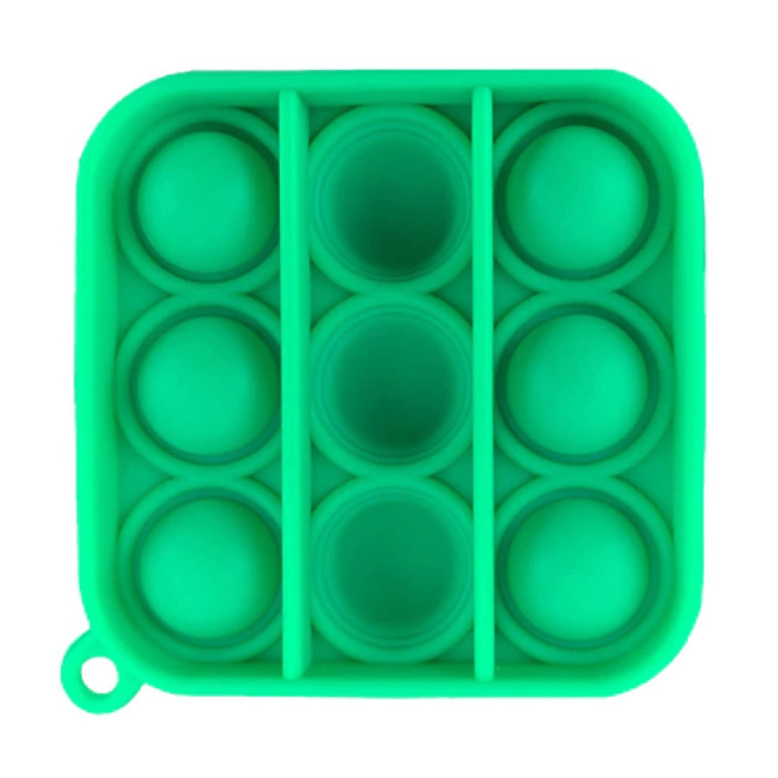 Pop It Keychain - Fidget Anti Stress Toy Bubble Toy Silicone Square Green