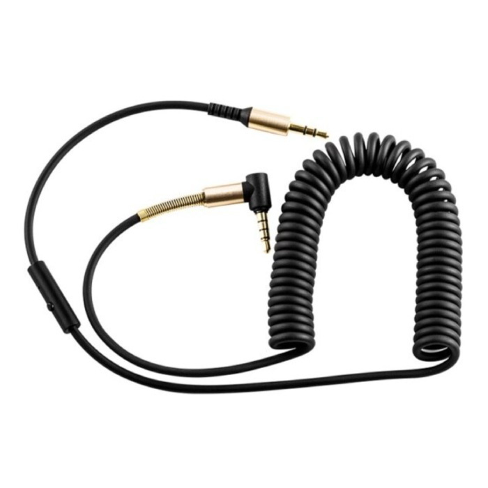 Câble AUX enroulé 3,5 mm Jack audio en spirale plaqué or 2 mètres - Noir