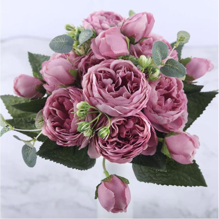 Kunst Boeket - Zijden Rozen Roos Bloemen Luxe Boeketten Decor Ornament Roze