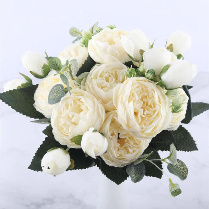 Art Bouquet - Soie Roses Rose Fleurs Bouquets De Luxe Décor Ornement Blanc