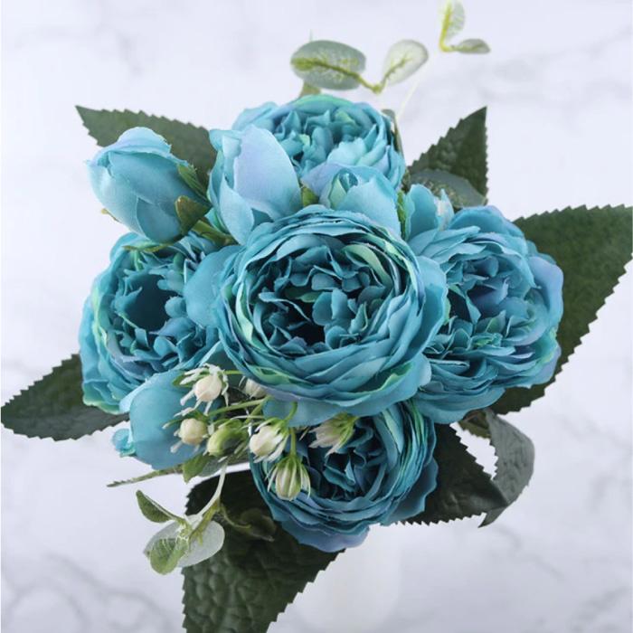 Kunst Boeket - Zijden Rozen Roos Bloemen Luxe Boeketten Decor Ornament Blauw