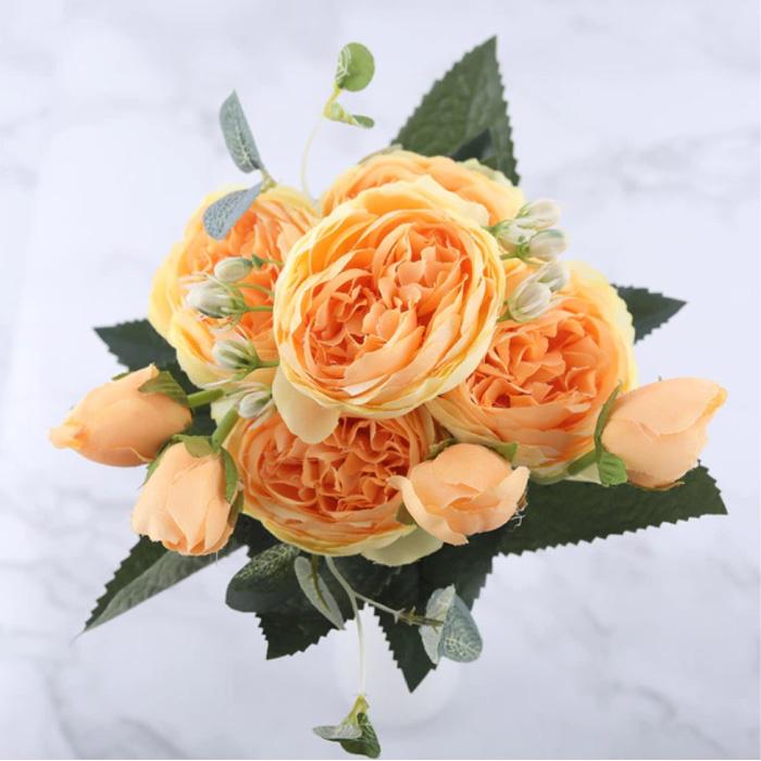 Art Bouquet - Soie Roses Rose Fleurs Bouquets De Luxe Décor Ornement Jaune