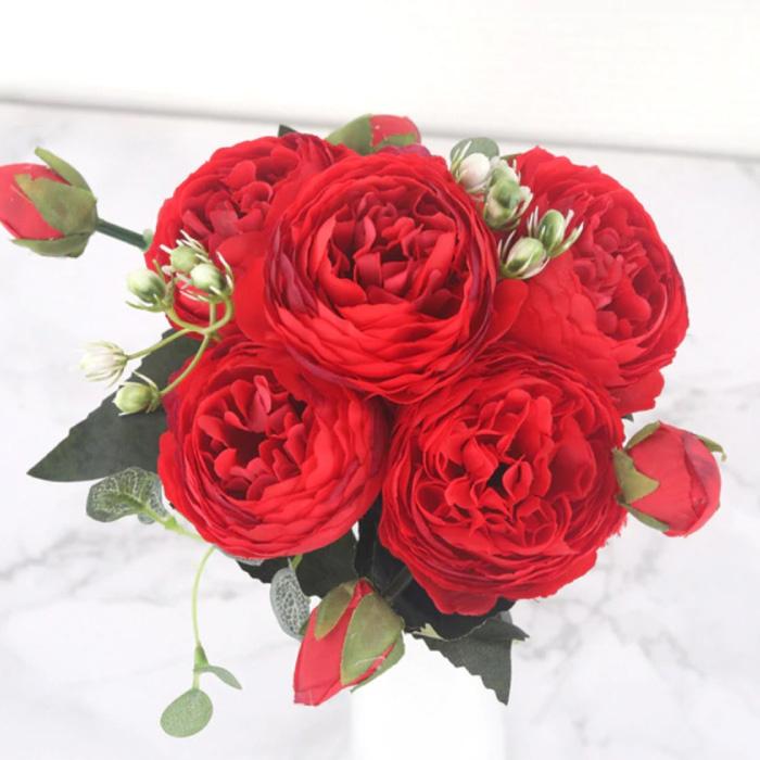 Art Bouquet - Soie Roses Rose Fleurs Bouquets De Luxe Décor Ornement Rouge