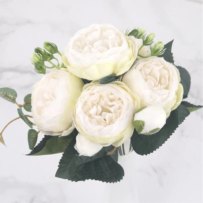 Art Bouquet - Silk Roses Rose Flowers Luxury Bouquets Decor Ornament White