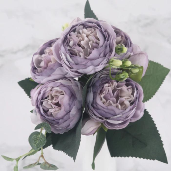 Kunst Boeket - Zijden Rozen Roos Bloemen Luxe Boeketten Decor Ornament Paars