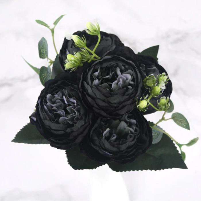 Kunst Boeket - Zijden Rozen Roos Bloemen Luxe Boeketten Decor Ornament Zwart