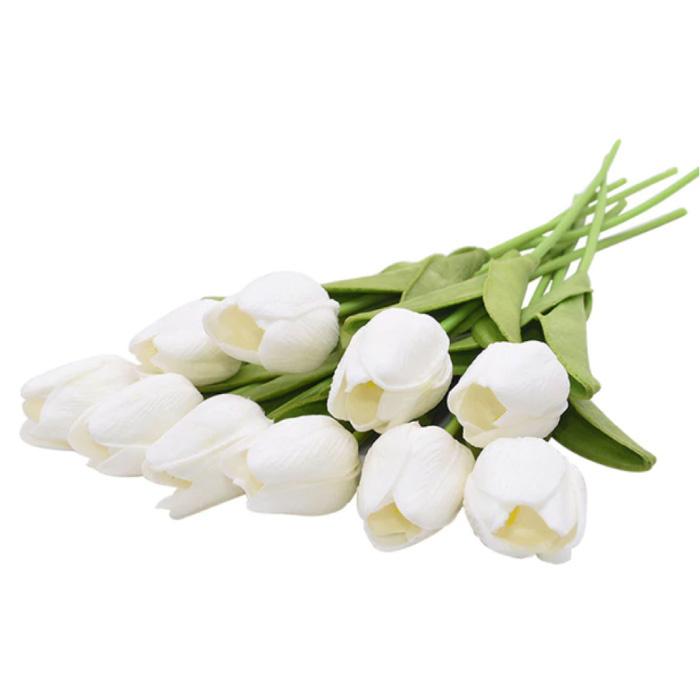 Art Bouquet - Tulipes Soie Fleurs Tulipe Bouquets De Luxe Décor Ornement Blanc