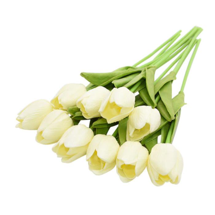 Art Bouquet - Tulips Silk Flowers Tulip Luxury Bouquets Decor Ornament White