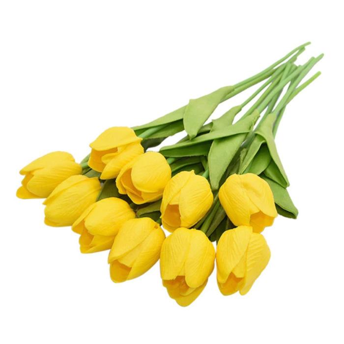 Art Bouquet - Tulips Silk Flowers Tulip Luxury Bouquets Decor Ornament Yellow