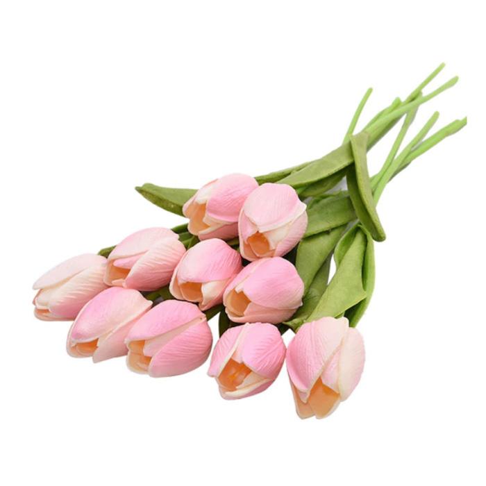 Art Bouquet - Tulips Silk Flowers Tulip Luxury Bouquets Decor Ornament Pink