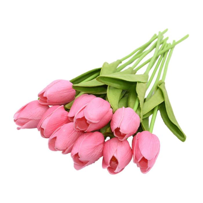 Art Bouquet - Tulipes Fleurs En Soie Tulipe De Luxe Bouquets Décor Ornement Rose