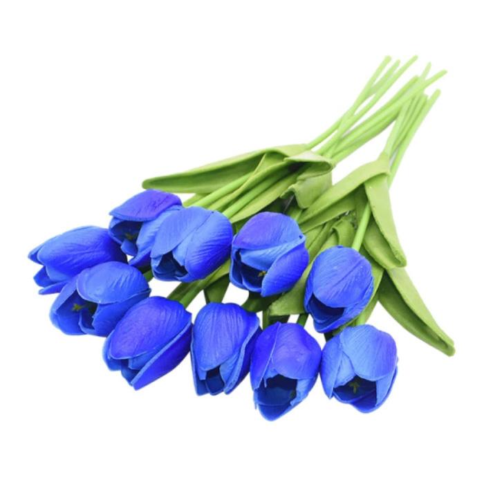 Art Bouquet - Tulipes Soie Fleurs Tulipe Bouquets De Luxe Décor Ornement Bleu