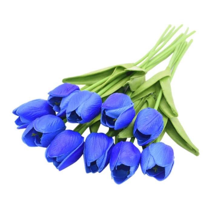 Art Bouquet - Tulips Silk Flowers Tulip Luxury Bouquets Decor Ornament Blue