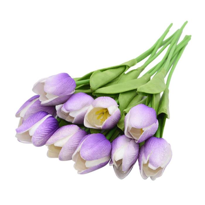 Art Bouquet - Tulips Silk Flowers Tulip Luxury Bouquets Decor Ornament Purple