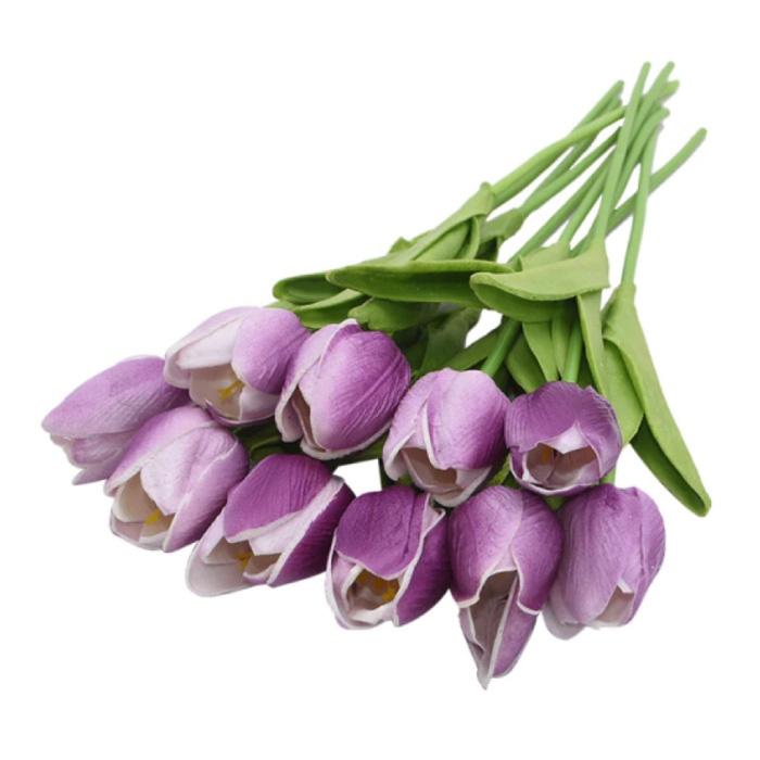 Art Bouquet - Tulipes Fleurs En Soie Tulipe De Luxe Bouquets Décor Ornement Violet