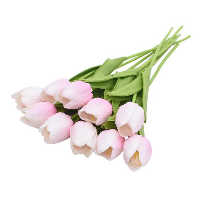 Kunst Boeket - Tulpen Zijden Bloemen Tulp Luxe Boeketten Decor Ornament Roze