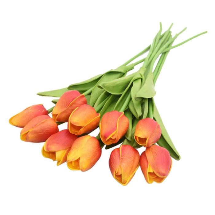 Kunst Boeket - Tulpen Zijden Bloemen Tulp Luxe Boeketten Decor Ornament Oranje