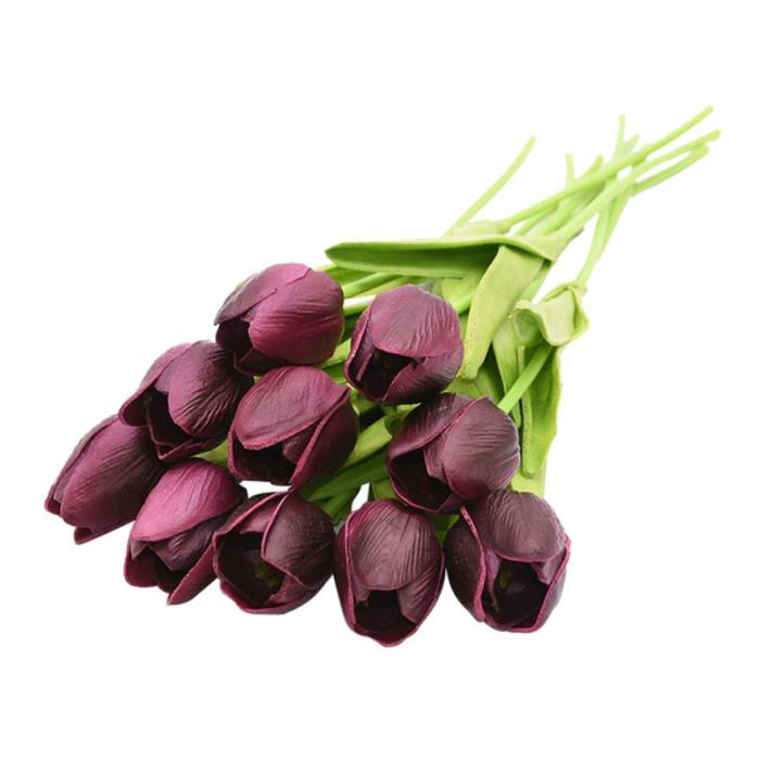 Art Bouquet - Tulipes Soie Fleurs Tulipe Bouquets De Luxe Décor Ornement Rouge
