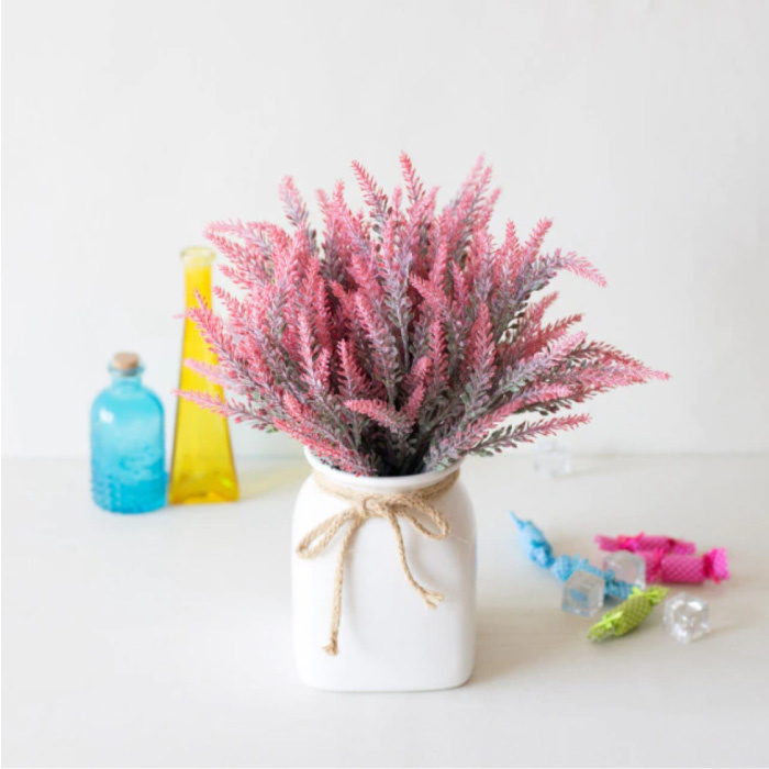 Kunst Boeket met Vaas - Lavendel Plastic Bloemen Luxe Boeketten Decor Ornament Rood