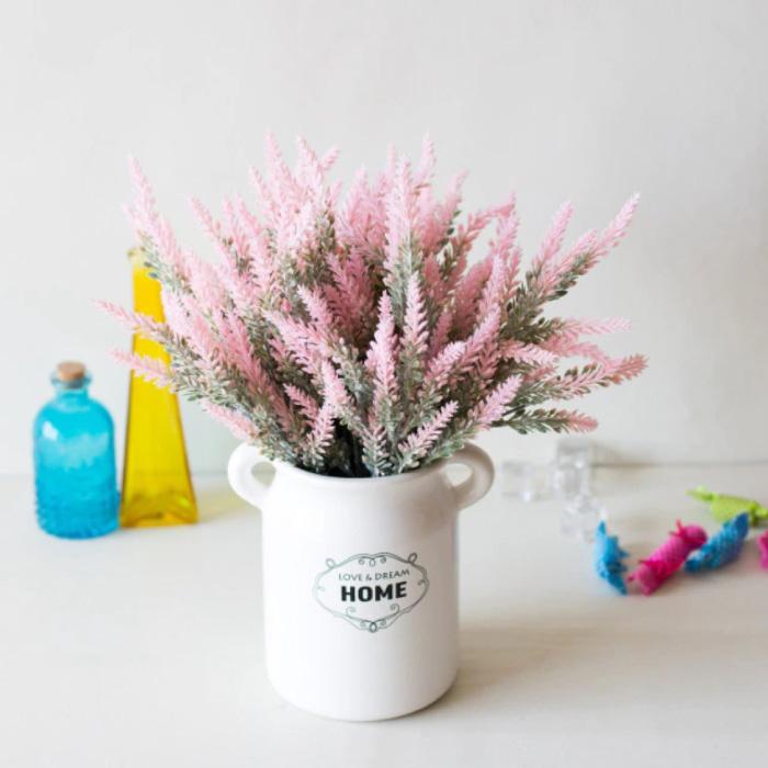 Kunst Boeket met Vaas - Lavendel Plastic Bloemen Luxe Boeketten Decor Ornament Roze