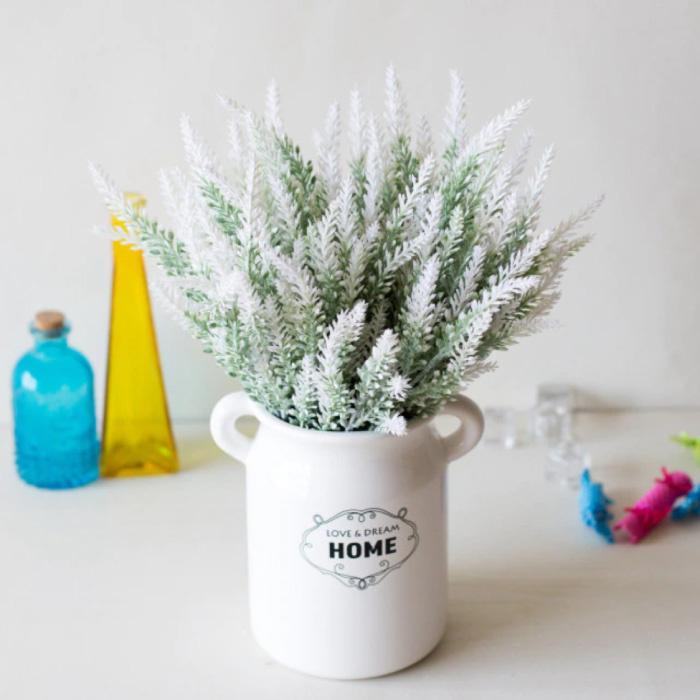 Art Bouquet avec Vase - Fleurs en Plastique Lavande Bouquets de Luxe Décor Ornement Blanc