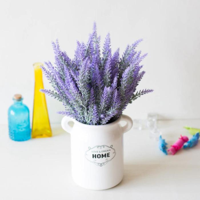 Kunst Boeket met Vaas - Lavendel Plastic Bloemen Luxe Boeketten Decor Ornament Paars